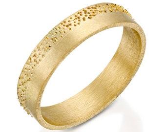 Modern Wedding Band, Engraved Ring, Unisex Rings, Wedding Rings, Anniversary Rings for Men, Handmade Jewelry, 18k Gold Ring Bands 5 mm