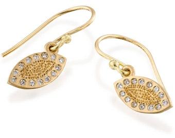 Dangle Earrings, Gold Earrings, Drops Earrings, Women Earrings, 18k Gold and Diamond Earrings, Gold Drop Earrings, Bridal Earrings