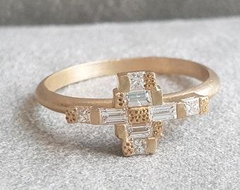 Baguette Diamond Ring, Baguette Engagement Ring Gold