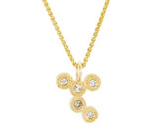 18k Gold Diamond Necklace, Minimalist Necklace, 18k Solid Gold Necklace, Champagne Diamond Pendant Necklace, Handmade Jewelry