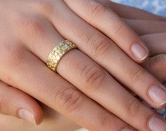 cbbcf00dc Wide Diamond Band, Modern Wedding Ring, Yellow 14k Gold Ring, Diamond  Engagement Ring, Women Wedding Band, Wide Floral Ring, Bridal Rings