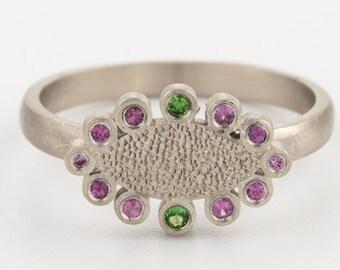 White Gold Ring, Gemstone Ring, Women Gold Rings, Promise Ring, Wedding Ring, Pink Sapphire Band, 18k Gold, Engraved Rings