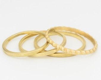 Gold Stacking Rings, Set of 4 Wedding Rings, Bohemian Wedding Ring, Minimalist Gold Rings, Thin Stacking Gold Rings, Midi Ring Set, 14k Gold
