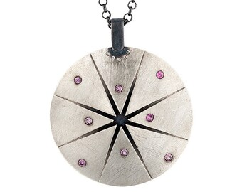 Pink Sapphire Silver Pendant, Tiny Diamond Silver Necklace, Sterling Silver Necklace, Long Silver Necklace, Oxidized Silver Necklace