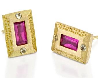 Women Stud Earrings, Ruby Earrings, 18k Solid Gold Post Earrings, Bridal Earrings, Sapphire And Ruby Studs, Square Earrings