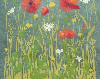 Poppy Meadow lino cut print