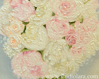 Custom Wedding Bouquet Painting in OIL by LARA 5x7 Floral