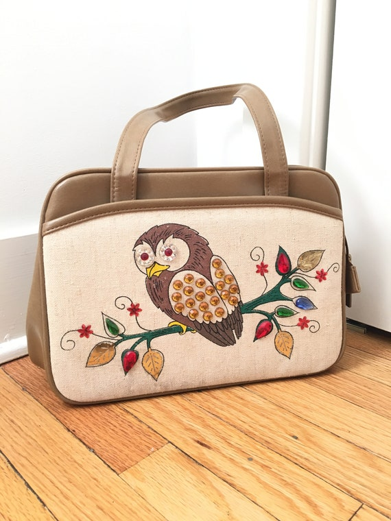60s 70s Owl Purse Handbag Novelty Gemstone Painted