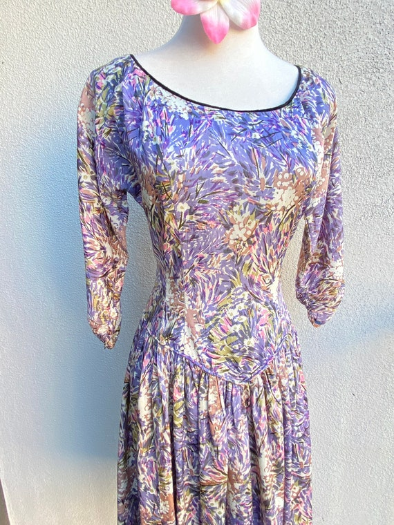 M 40s 50s Abstract Confetti Dress in Purple Pink P