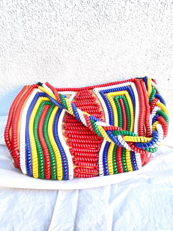 40s 50s Telephone Cord Purse Primary Colors Red Bl