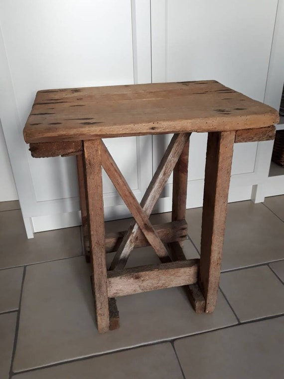 Brilliant Vintage Italian Wooden Farm Stool Handmade Wood Stool Rustic Farmhouse Decor Antique Italian Footstool Creativecarmelina Interior Chair Design Creativecarmelinacom