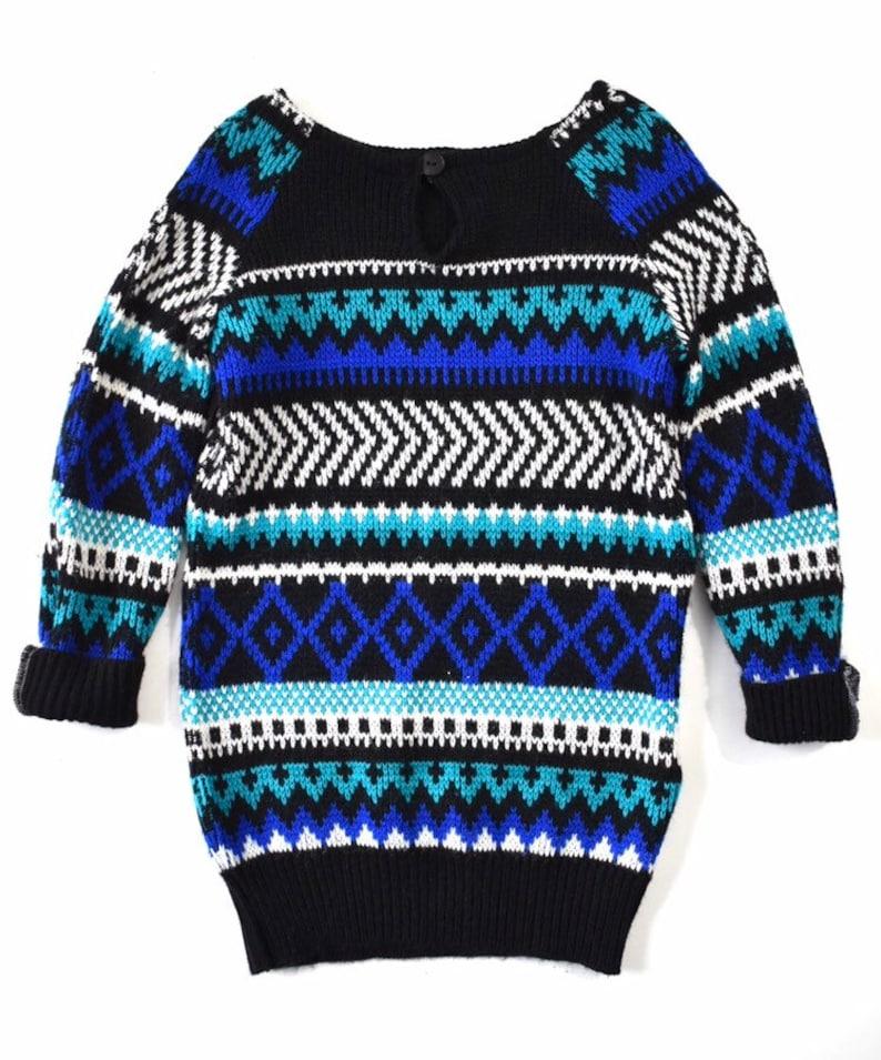 34f3a0aebce 4T SWEATER DRESS blue black teal white