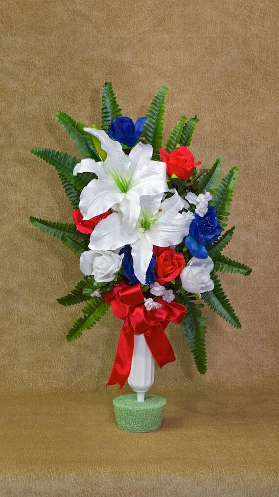 Silk flower memorial vase cemetery vase funeral flowers etsy image 0 mightylinksfo