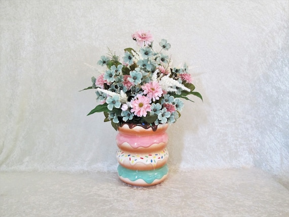 Silk flower arrangement in a ceramic doughnut vase silk etsy image 0 mightylinksfo
