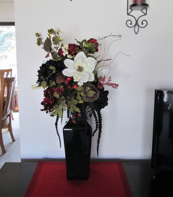 Silk Flower Arrangement In A Black Ceramic Vase Silk Floral Etsy