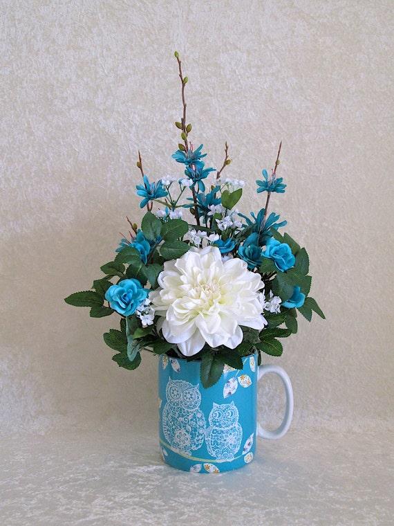 Los Amantes Del Buho De Seda Arreglos Florales En Una Taza De Cerámica Con Aqua Y Blanco Dahlia Y Rosas Arreglo De Flores De Seda Decoración Para El