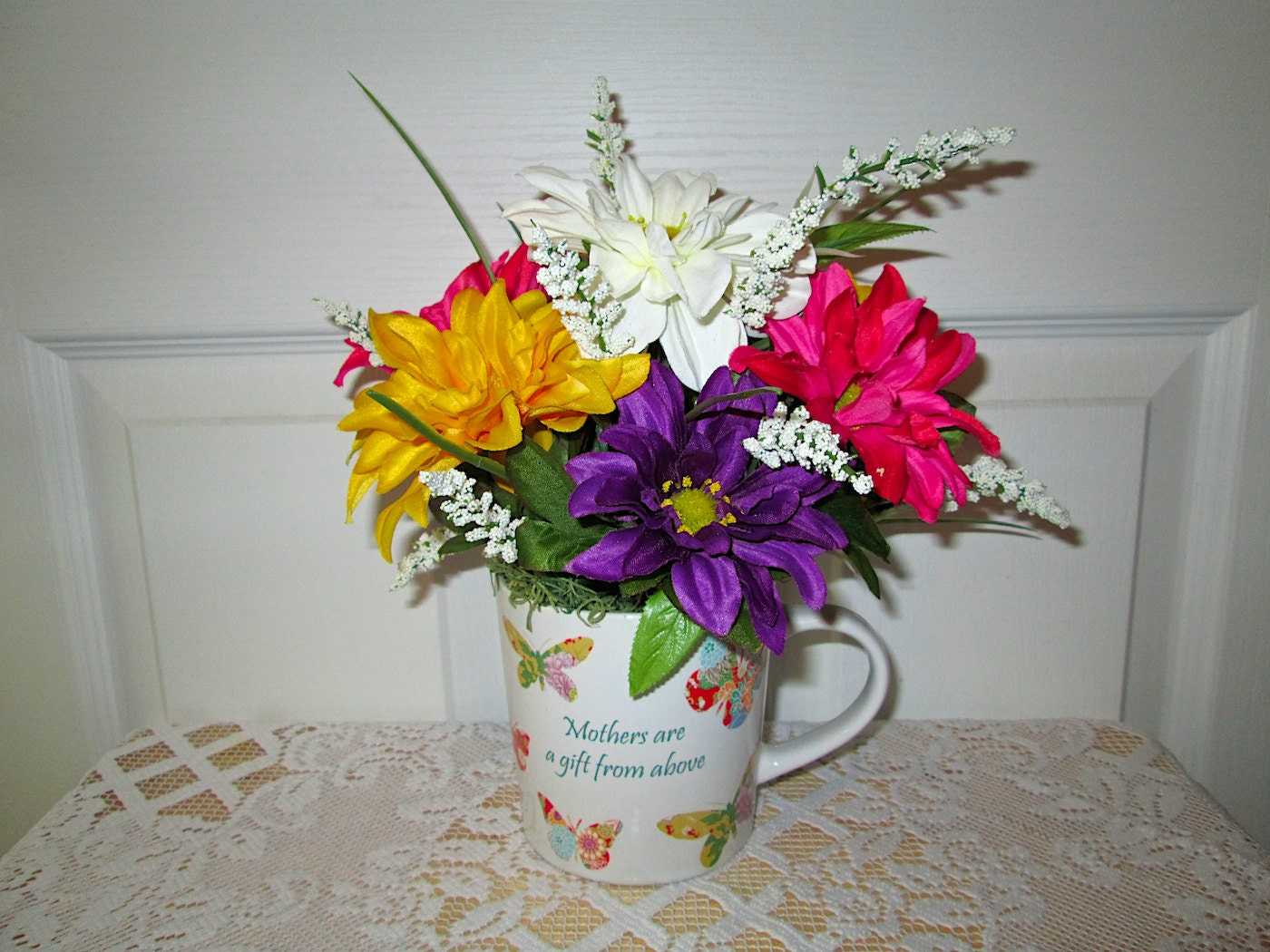 Mothers Coffee Cup Arrangement Silk Flower Arrangement Etsy