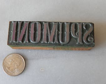 Vintage Letterpress Printing Block Spumoni