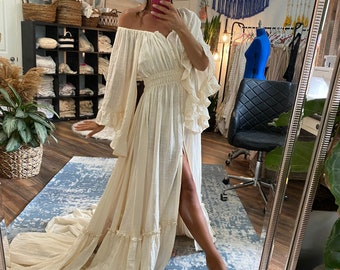 Ruffle Me Open gown Rust and Mustard Limited Quantity RTS
