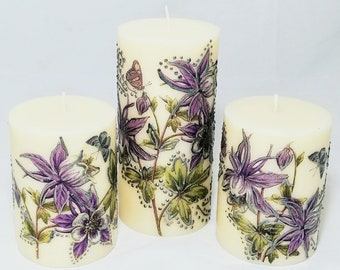 Decorated pillars candles set of 3 with purple flowers and butterslflies Hand painted candle pillar candle vanilla scented candkes