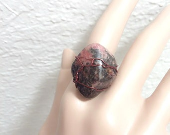 Rhodonite adjustable ring Rough Raw Rhodonite ring unique one of a kind handmade ring with natural raw Love talisman
