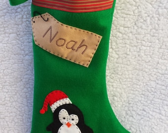 personalised christmas stocking handmade green penguin
