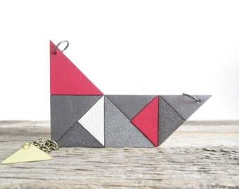 Gray Geometric necklace Geometric leather Necklace Geometric bib necklace