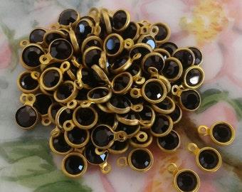 17ss Vintage Channel Set Jet Swarovski Crystal Bezel 1 Ring - Size 17ss - 10 Pieces Per Order - Black Jet - Brass Bright Gold  Color Metal