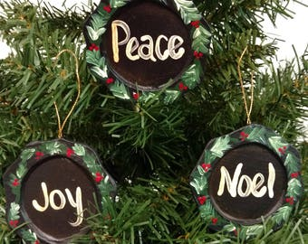 Paper Mache Christmas Plate Ornaments - Set of 3