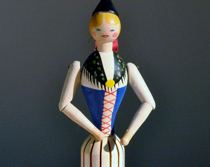 Antique Swedish Wood Folk Art Doll