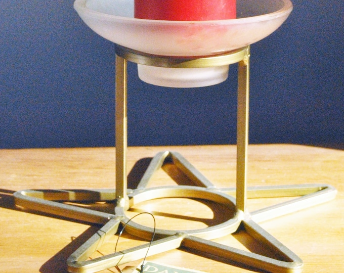 Vintage Danish Gold Iron Star Candle Holder 1970s Mid Century Modern Christmas