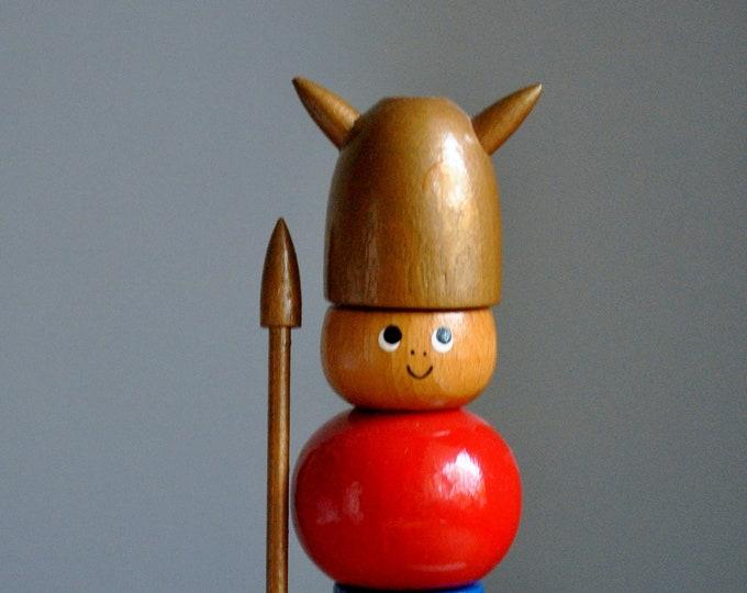 Vintage Scandinavian Modern Wooden Viking Toy K Bojeson Brio Stackable