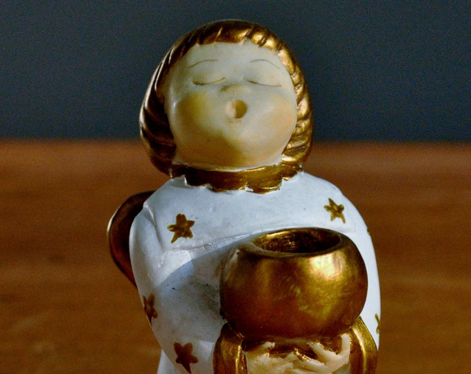 Vintage Candy Design Norway Ceramic Angel White with Gold Christmas Jul