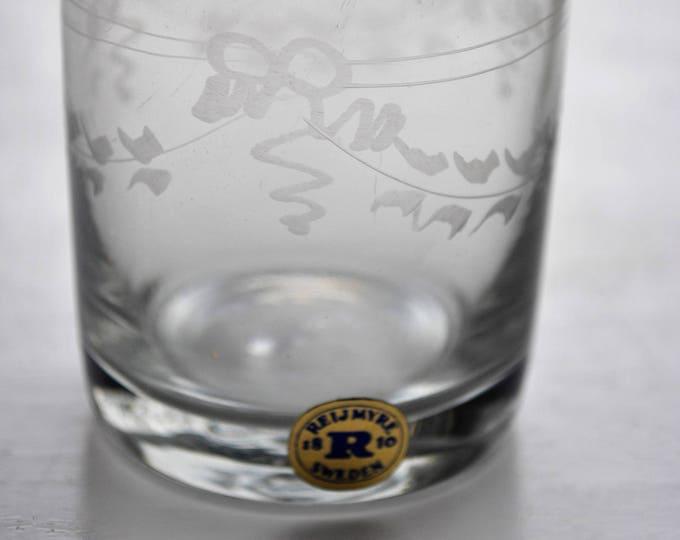 Vintage Swedish Reijmyre Glass Gustavian Cordial Set of 6 Rare Hand Blown Unused in Original Box