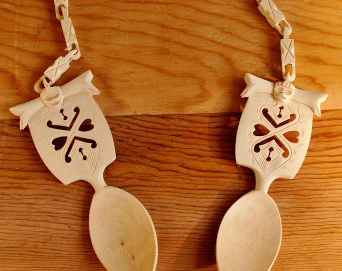 Vintage Norwegian Wedding Spoons Hand Carved