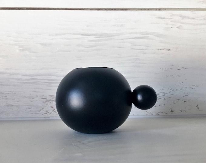 Scandinavian Modern Black Candle Holder Tealight Made in Sweden