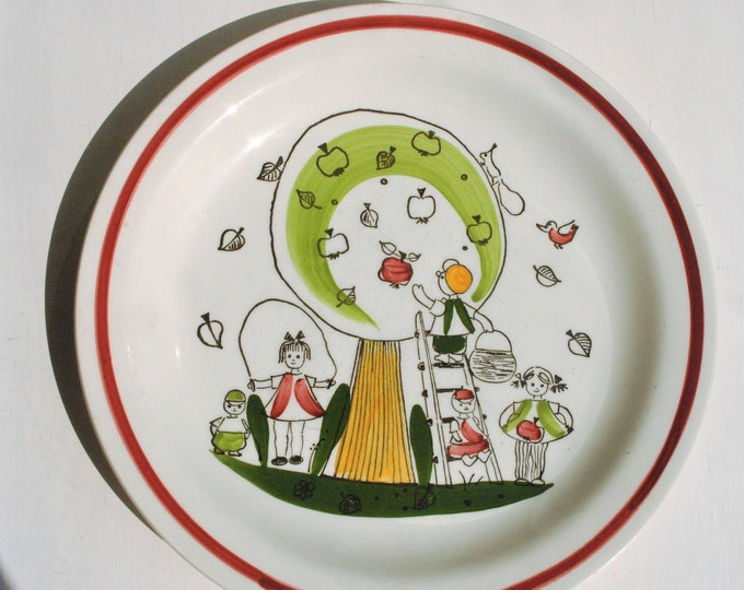 Rorstrand Appel Pappel Vintage Swedish Child's Plate Mid Century Modern