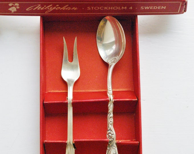 Vintage Swedish Nils Johan Coffee Spoon and Herring Fork Set NIB Silverplated