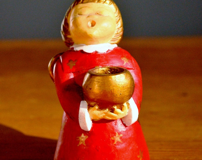 Vintage Candy Design Norway Ceramic Angel Red with Gold Christmas Jul