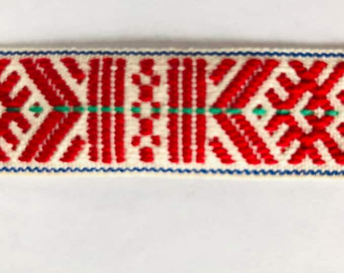 Scandinavian Folk Art Ribbon Handwoven Red White With Green Detail