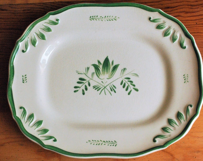 Antique Swedish Upsala Ekeby Iris Platter Green