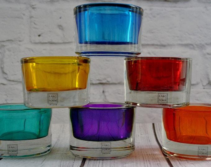 Vintage Swedish Modern Farg och Form Candle Holder Set Multi Color