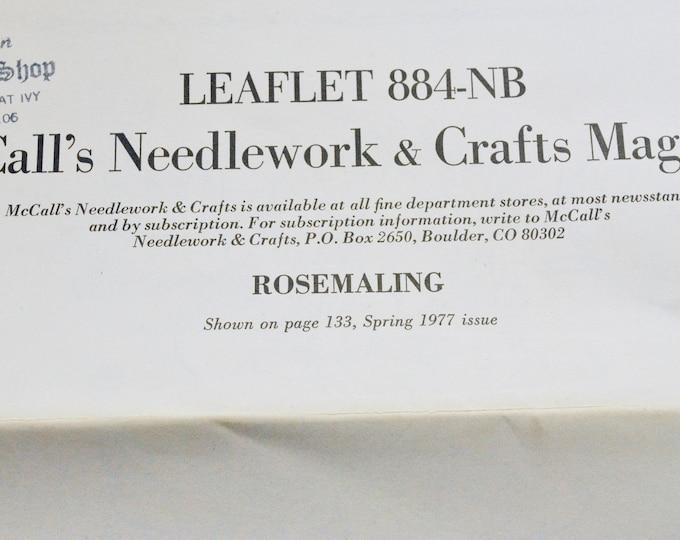 McCall's Needlework and Craft Magazine Leaflet 884 NB Rosemaling