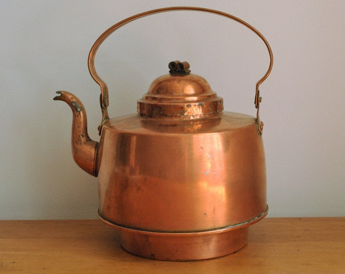 Antique Swedish Copper Tea Kettle S.A. Wassberg Borås SAW