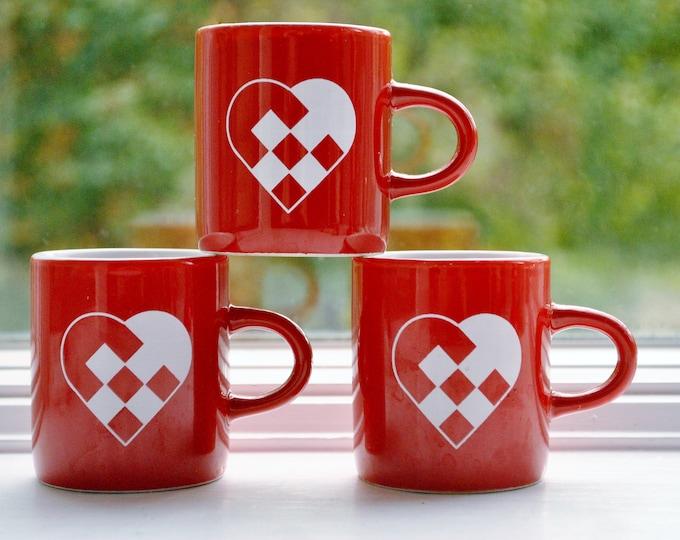 Set of 3 Danish Woven Heart Mugs Glögg Espresso Christmas Jul Berggren