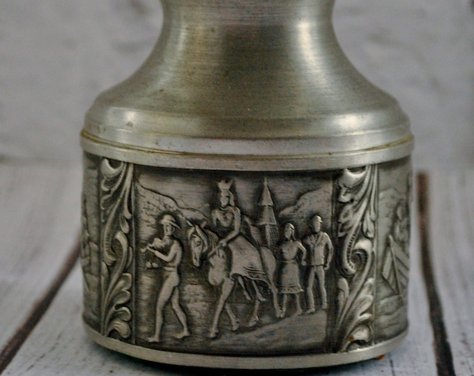 Vintage Norwegian Pewter Wedding Candle Holder Telemark Rosemaling A Holthe