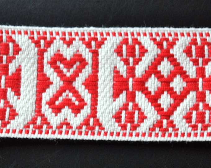 "Swedish Folk Art Woven Ribbon Wide Red & White 1.57"" 4 cm"