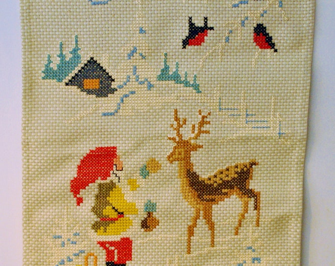 Vintage Swedish Hand Woven God Jul Tapestry Wall Hanging Cross Stitch