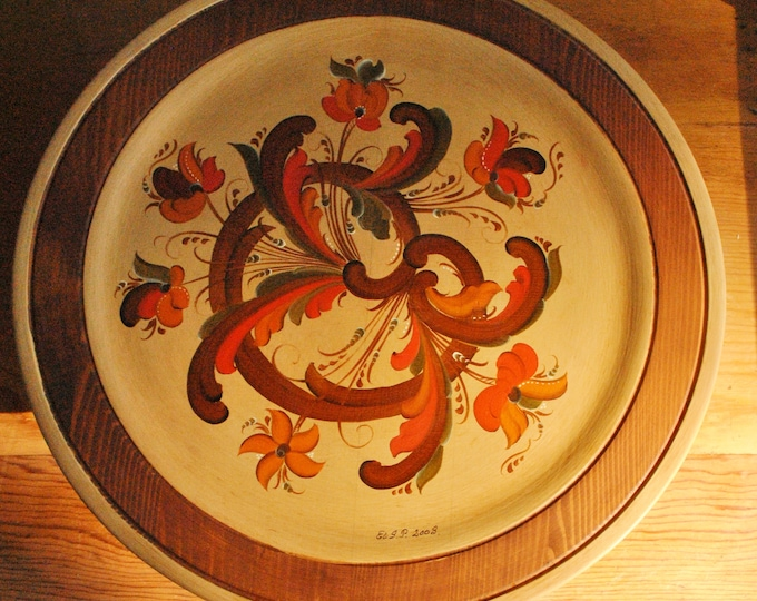 Vintage Norwegian Telemark Rosemaling Cake Stand Made in Norway Hand Carved