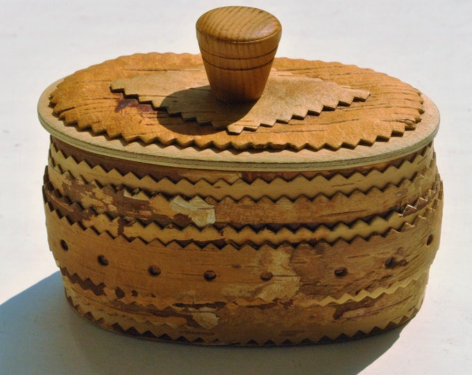 Swedish Antique Hand Carved Birch Bark Box Scandiavian Folk Art